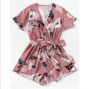 Pants - ROSA💗 blush pink rose floral print romper